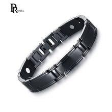 832ee97926cc Elegantes brazaletes negros de acero inoxidable terapia magnética 4 en 1  FIR negativo Ion germanio pulsera joyería