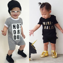 2016 Newborn Baby Clothes Letter Print Short Sleeve Cotton baby Rompers Girls Boys Clothes roupas de bebe infantil costumes