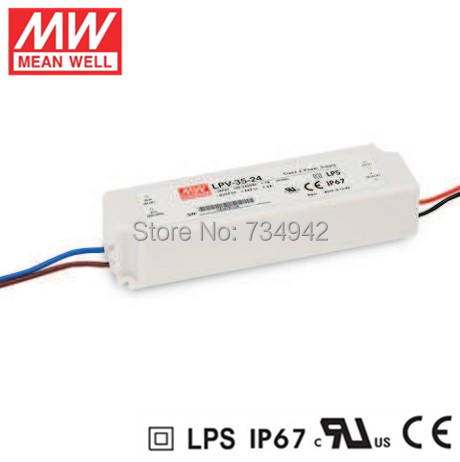 MEANWELL 24V 35W UL Certificated LPV series IP67 Waterproof Power Supply 90-264V AC to 24V DC meanwell 5v 130w ul certificated nes series switching power supply 85 264v ac to 5v dc