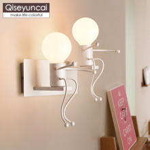 Qiseyuncai Nordic creative personality LED doll bedside lamp modern minimalist bedroom aisle staircase hallway children lighting