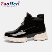 Taoffen Real Leather Women Sport Shoes Skateboarding Shoes Trainers Brand Zipper Flats Sneakers Lightweight Daily Size 34 39