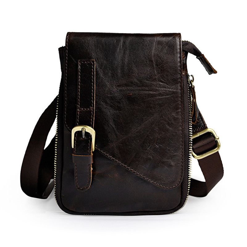 Oil wax leather Men Waist Bag Coffee 8 Small Shoulder Messenger Bags Real Cowhide Chest Bag Crossbody Bag
