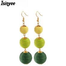 ISINYEE Fashion Triple Thread Pom Pom Ball Earrings For Women Ethnic Gold Bohe Bon Bon Ball Statement Bohemian Pompom Jewelry