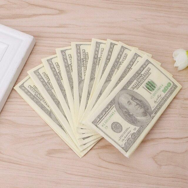 9 piezas/1 paquete 3 capas impresión suave dólares Bill dinero divertido Baño de papel de tejido