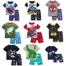 Купить с кэшбэком 2019 Hot Summer Kids Pajamas Baby Boys Gilrs Clothing Cartoon Costume Short Sleeve Pijamas children Sleepwear Pajamas Sets