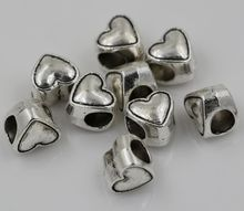 Hot Sell !  10pcs Tibetan Silver Alloly Heart Large hole Spacer Beads Fit European Charms Bracelet 9x8mm nm115