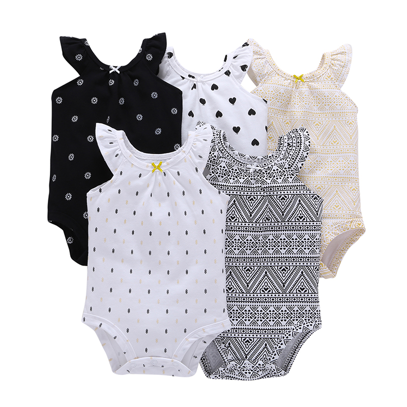 5PCS/LOT SUMMER INFANT BABY GIRL CLOTHES,o-neck sleeveless rompers cotton,unisex newborn set,Toddler boy set,6-24 month newborn baby bodysuit infant jumpsuit overall summer 100% cotton short sleeves o neck boy girl romper clothes set