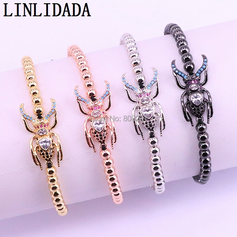 10Pcs Handmade Micro Pave CZ Bugs Insect Macrame Braiding Adjustable Bracelet Cute Insect Bracelet Trendy Jewelry