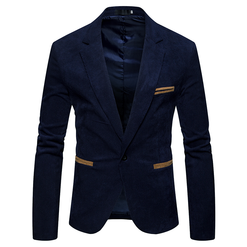 New 2018 winter spring men casual suit men pop turn-down collar Corduroy Worsted Fabric pocket Button decorate men's suit coat