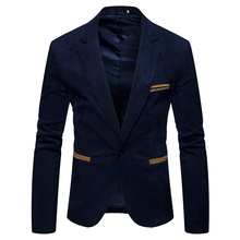 New 2018 winter spring men casual suit pop turn-down collar Corduroy Worsted Fabric pocket  Button decorate mens coat