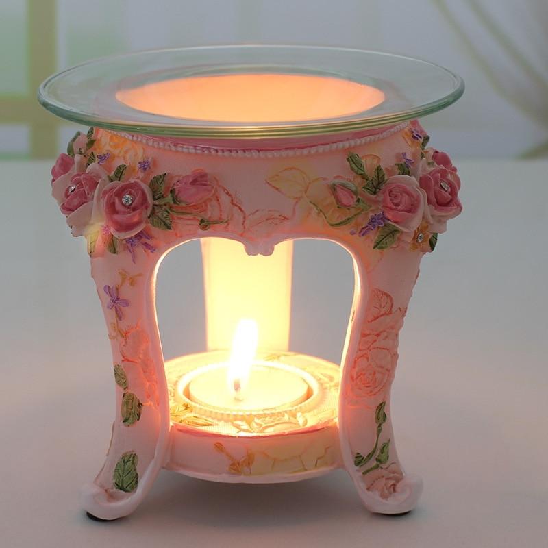 PINNY Evropský pastorační styl Aromatická olejová hořák Resin Aromaterapie Lampa Svíčka Domácí dekorace řemesla Růže olejová lampa Essential