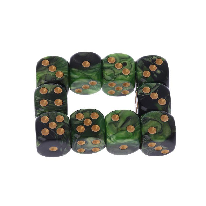 10 Pcs 16mm  D6 Black Green Gold Points Round Edges Resin Dice For KTV Bar Nightclub Entertainment Tools