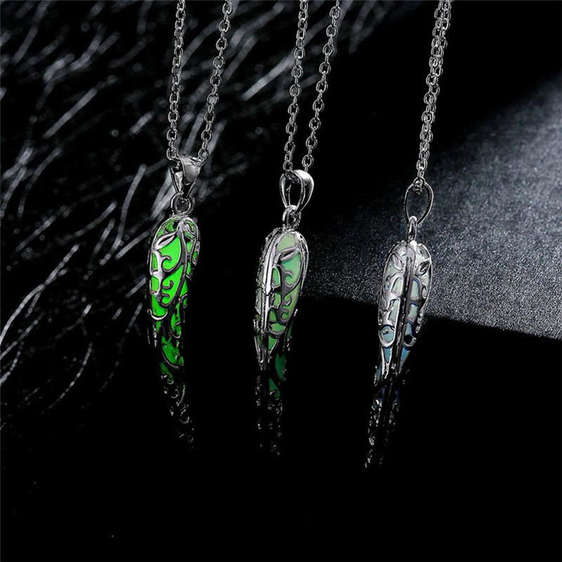 WuBiao-shop Store 1 PC Fashion Jewelry 3 Style 925 Sterling Silver Link Chain Colorful Luminous Tooth Pendants Necklaces Fine Jewelry for Women