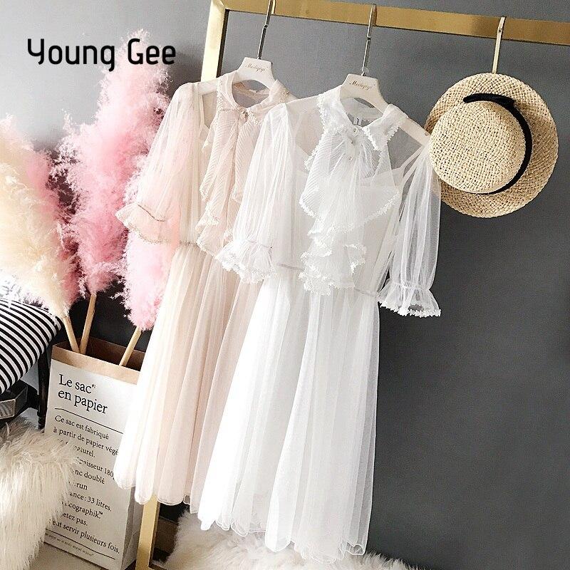 Женское платье мини YoungGee, летние кружевные плиссированные брюки клеш с эластичным поясом на рукавах Платья      АлиЭкспресс