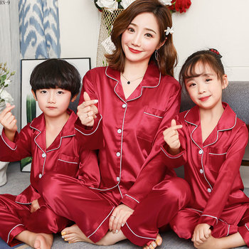 Baby's Pajamas Set 2019 Summer Long Sleeve Children's Sleepwear Suit Mom Son and Daughter Soild Satin Family Matching Outfits