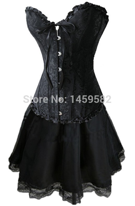 Coldker instyles Plus Size S-6XL Sexy   Corset   Dress Basques With Skirt Lingerie 819+066,