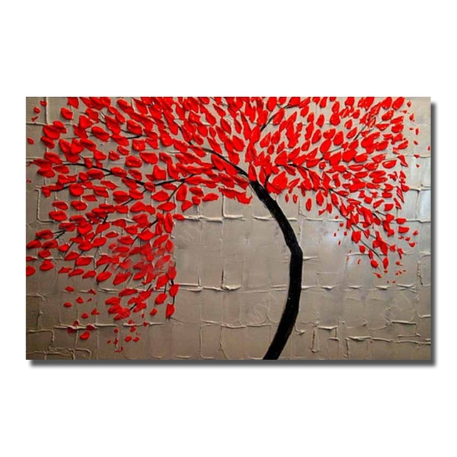 Free Shipping Hand Painted Modern Red Flower Tree Oil Painting On Canvas Wall Art For Living Room Decor Wall Pictures No Framed