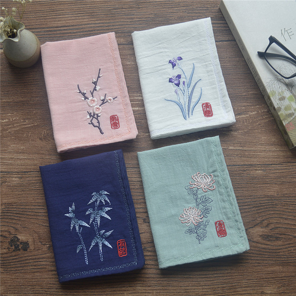 Chinese Style Ancient Style Embroidery Handkerchief Women Square Pocket Handkerchief Cotton Linen Handkerchiefs Birthday Gifts