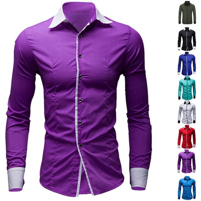 New Mens Dress Shirts Casual Shirts Hawaiian Style Slim Long Sleeve Dress Shirts Camisa Masculina Casual Shirts M-XXL  SC08