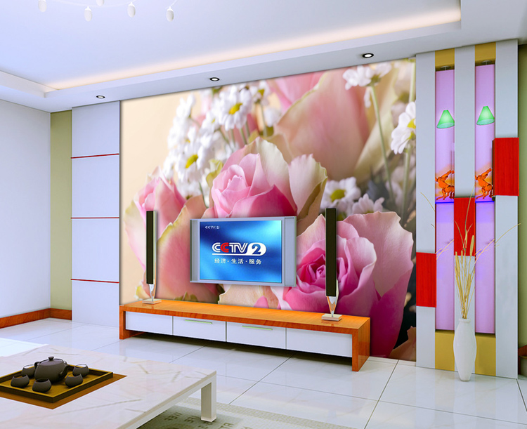 custom large mural wallpaper room art wall stickers Fashion tv sofa background photo fresco fabric wall paper mural 3d pink rose