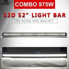 """CO luz 22 """"32"""" 42 """"50"""" 52 """"barra de luz LED 3 fila 12D de conducción en carretera luz de trabajo Led Beam Combo Bar para SUV ATV camión barco 12 V 24 V"""