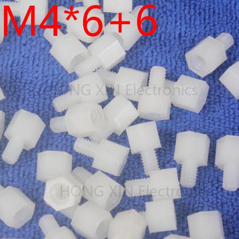 M4 * 6 + 6 Branco 1 pcs Nylon Standoff Spacer Standoff M4 Padrão Plástico Macho-Fêmea 6mm Kit de Reparação Conjunto de Alta Qualidade