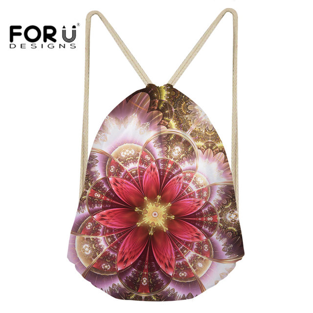 c9fde14aed FORUDESIGNS Drawstring Bag Small Sport Bag for Women Fitness and Training  Yoga Vintage Flower Printing Gym Backpack Bag Outdoor
