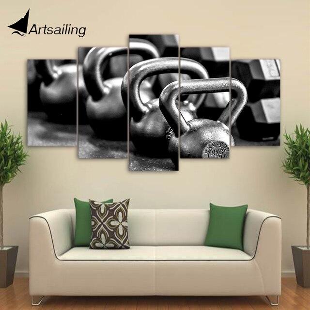 Canvas schilderij 5 stuk canvas art gym dumbells poster metalen ...