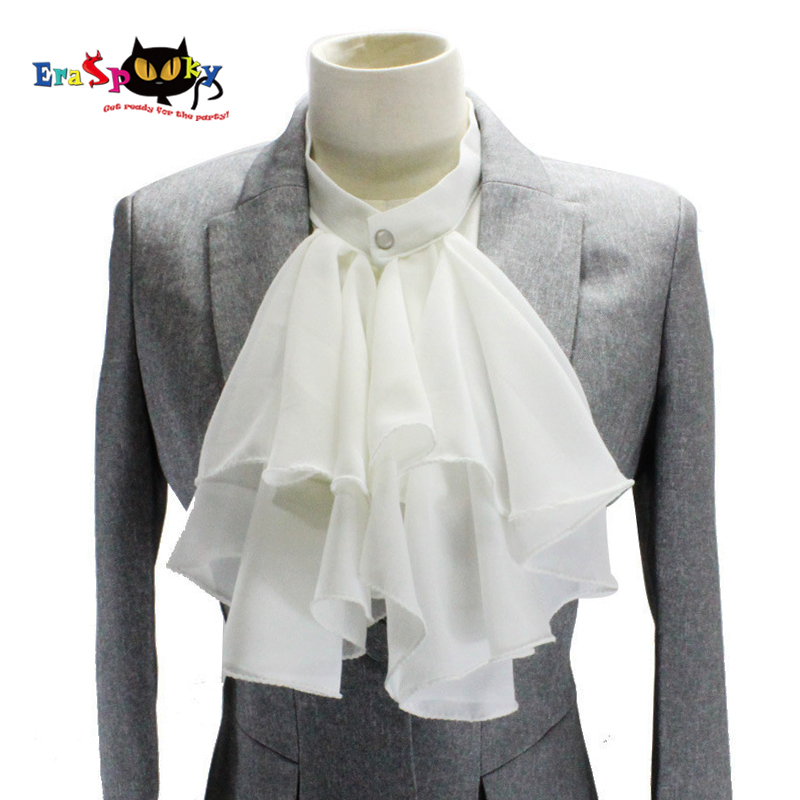 Men Medieval Knight Shirt Fake Collar Costume Accessories Vintage Women White Detachable Collar Victorian Chiffon Cravat Choker