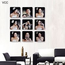 9 Pcs/Set Photo Frame For Wall Hanging Picture Frame Photo 20X20cm Wedding Couple Recommendation Pictures Frames Kids Frames(China)