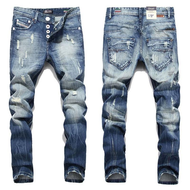Новинка 2016; Лидер продаж Модные Для мужчин Джинсы для женщин dsel бренд Прямо подходят Рваные джинсы итальянский дизайнер потертой джинсы Homme! a982