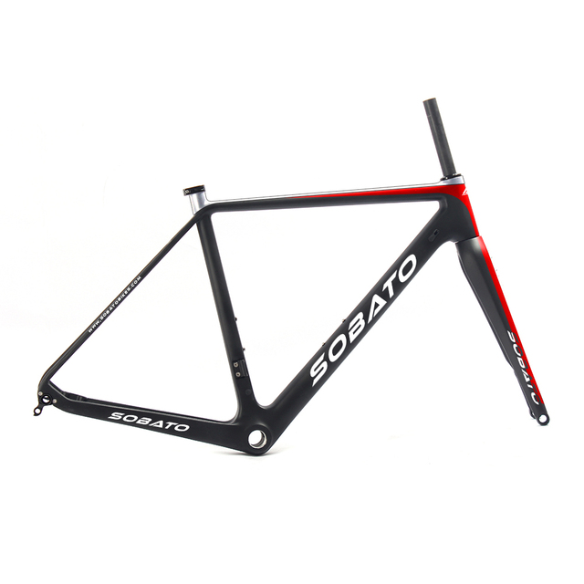 V brake carbon cyclocross bike frame with Red white paint OEM frames ...