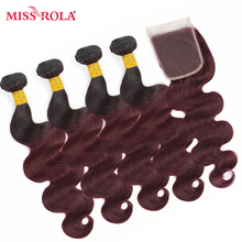 Miss Rola Hair Pre-colored Ombre Indian Body Wave Hair #1B/99J Human Hair Weave 4 Bundles with Closure Hair Extensions Non-Remy
