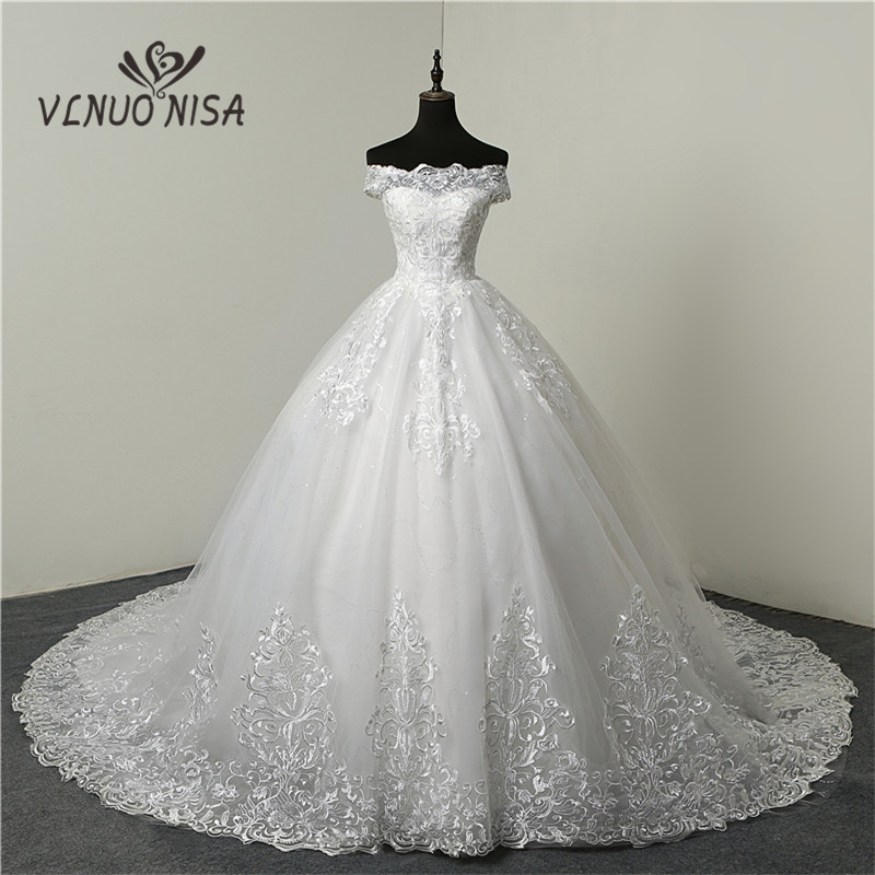 Cheap Lace Appliques Cheap Train Wedding Dress Sweetheart Tulle Tank Summer Princess Bridal Ball Gown Floral Print CC