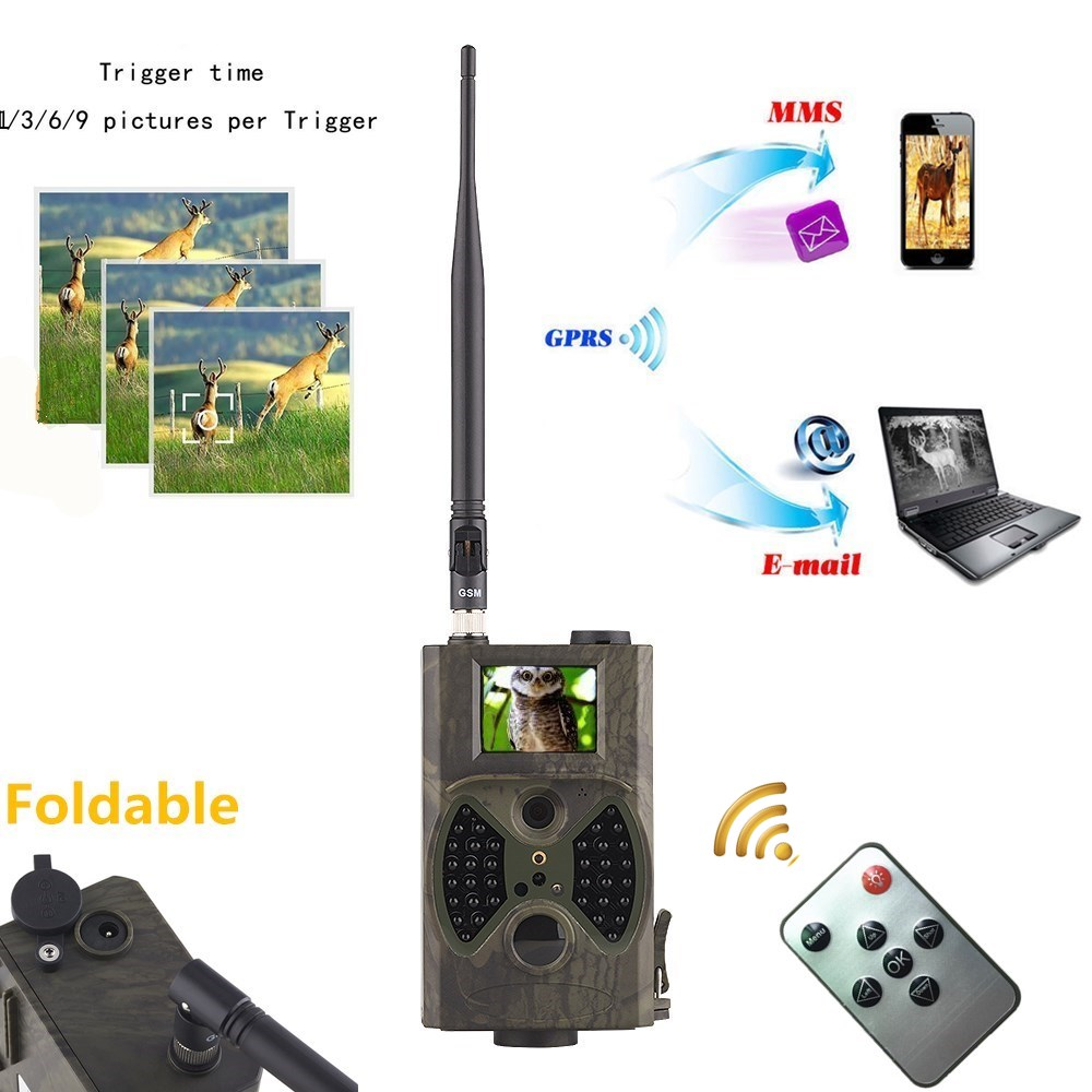 ФОТО 940NM Night vision hidden wireless hunting trail camera HC300M with 12MP 1080P gsm gprs mms camera for Animal hunting video game