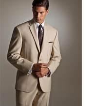 Custom Made Simple Beige Groom Tuxedos Groomsman Suit Bridegroom Attire two- Piece Men Wedding Party Suits(Jacket+Pants) ed2244cf3774