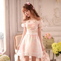 Princess sweet lolita dress Candy rain Summer Japanese style sweet slash neck flowers rainbow beach chiffon dress C15AB5757