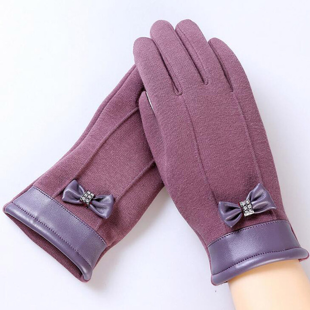 2017 Elegant Plush Female Lace Leather Wrist Bow Tie Gloves Winter Sports Fitness Women Phone Touch Screen Mittens Gloves 13D