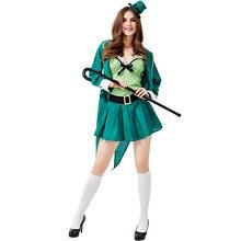 Umorden Womens Teens St. Patricks Day Ireland Irish Leprechaun Elf Costume Green Spirit Halloween Mardi Gras Fancy Party Dress