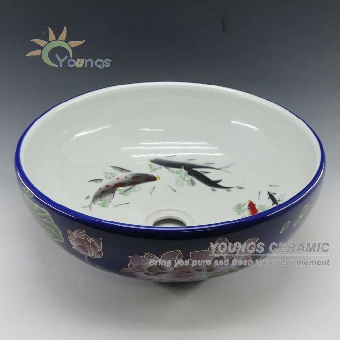 Art Chinese Hand Painted Fish Lotus Porcelain Custom Bathroom Wash Basin For Hotel /Bar