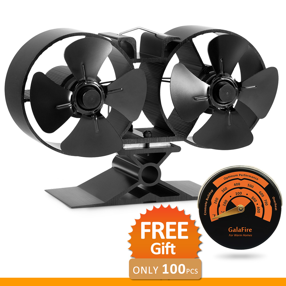 8 Blade Twin Motor Heat Powered Eco Stove Fan 33% Fuel Cost Saving Aluminum Black for Wood Gas Coal Pellet Log Stoves super max twin blade oдноразовые станки с двойным лезвием 5 шт