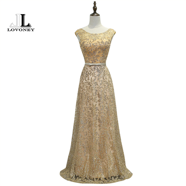 LOVONEY M229 Abendkleider A Line Sequin Lace Gold Prom Dress 2017 ...
