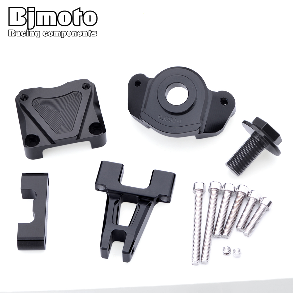 Bjmoto Ninja 250R 2008-2014 CNC Motorcycle Steering Stabilize Damper Mount Bracket kit For Kawasaki Ninja 300 2013 2014 2015 motorcycle cnc steering damper with bracket suport for kawasaki z800 2013 2014