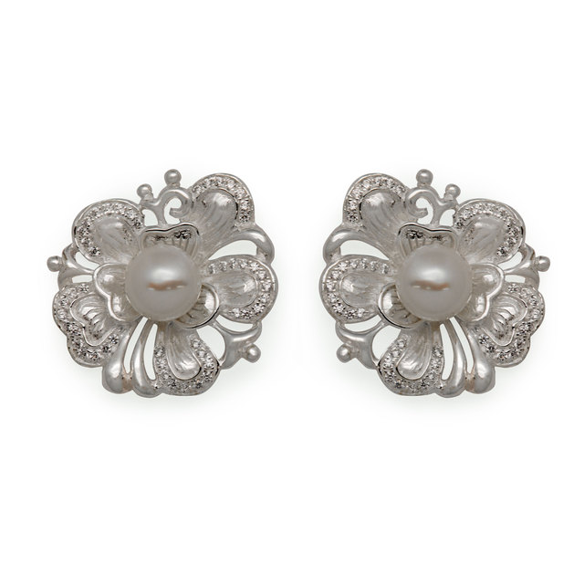 3da2af006 2016 Vogue Peony Flower 925 Sterling Silver Natural White Pearl Stud  Earrings