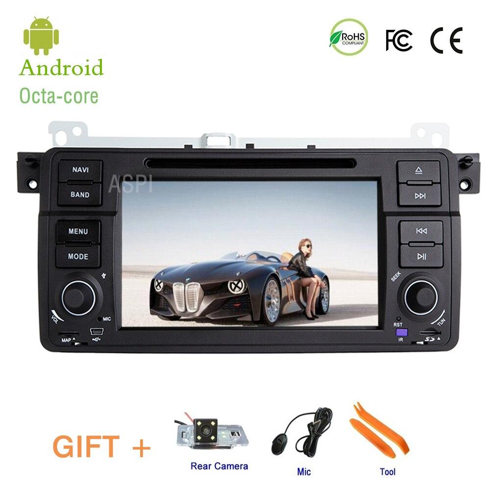 4G Android 8.0 lecteur DVD de voiture Sat Nav pour BMW E46 M3 dans la navigation audio stéréo de voiture de tableau de bord, un écran DIN fai 7''