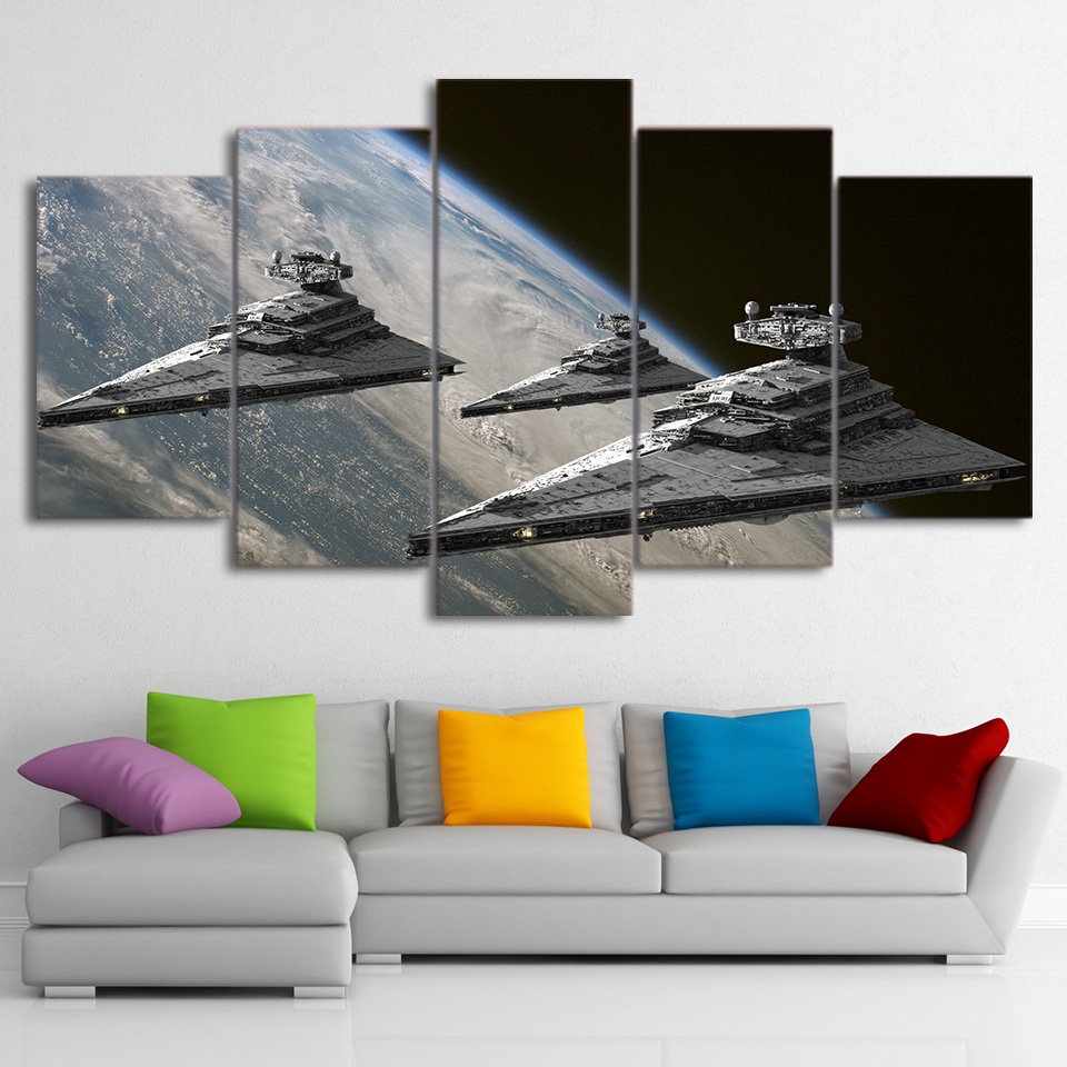 Home Decor Art HD Wall Printed Living Room Canvas 5 Pieces Movie Star Wars Pictures Space Star Destroyer Poster Painting Frame no frame canvas