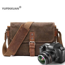 YUPINXUAN Mens Waterproof Camera Shoulder Bags Vintage Canvas Traveling Messenger Bags Retro Oil Wax Crossbody Bag for Teenagers