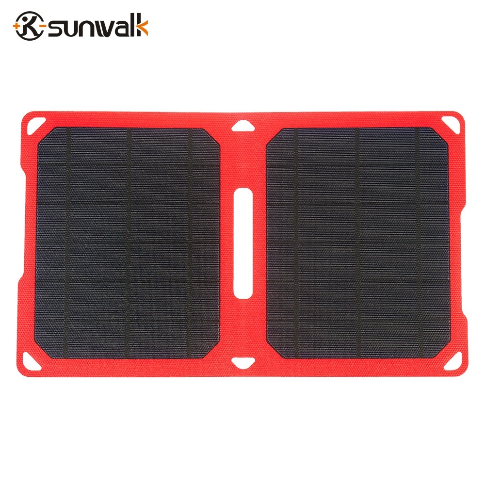 SUNWALK 10W Super Slim Folding Solar Panel Charger Portable Waterproof Solar Panel for Cellphone Power Bank PSP Camera 5V Device new solar panel 30000mah diy waterproof power bank 2 usb solar charger case external battery charger accessories