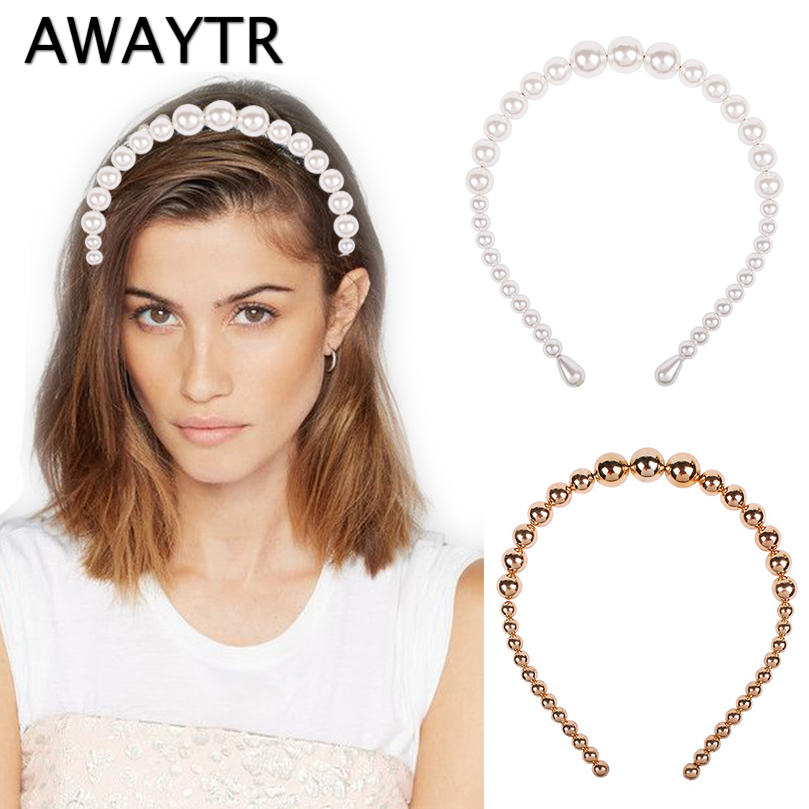 AWAYTR 2019 New Luxury Big Pearl Headband For Women Wild Personality Trend Fashion Hairband Party Pearl Girls Hair Accessories