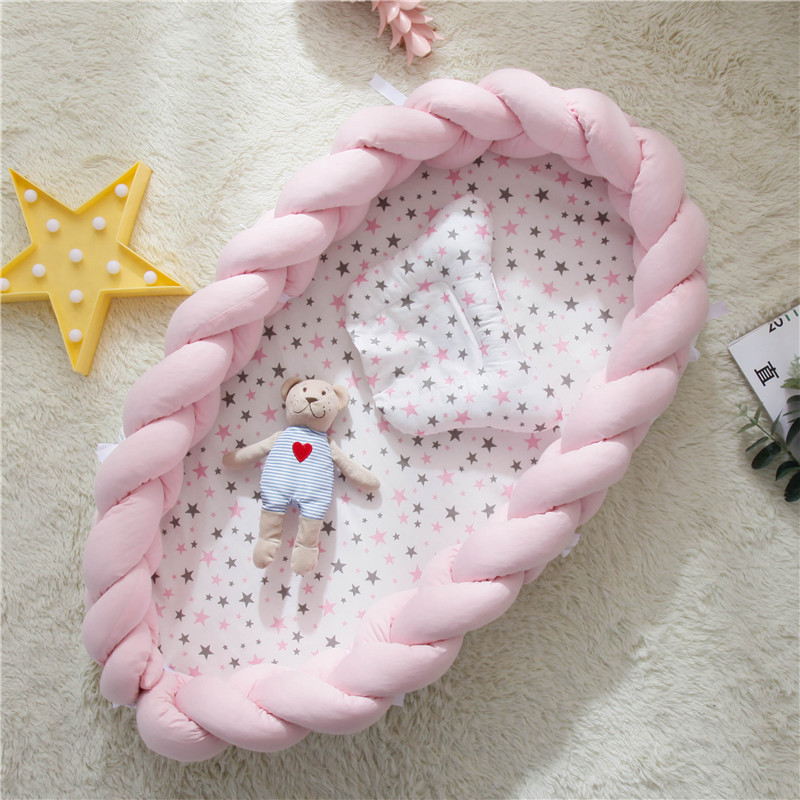 Portable Cotton Baby Bed Nest With Pillow Knot Long Handmade Knotted Braid Baby Bed
